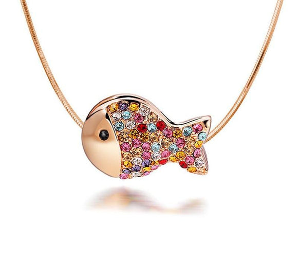 Luxury Gold Color Lovely Crystals Fish