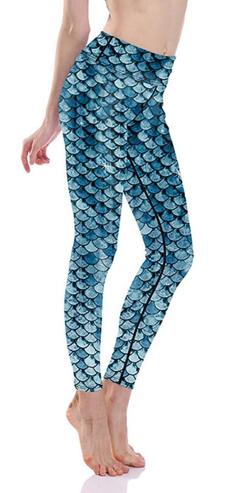 Fish scale mermaid fitness leggings