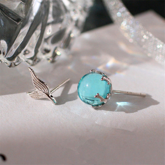 925 Sterling Silver Blue Crystal Earring