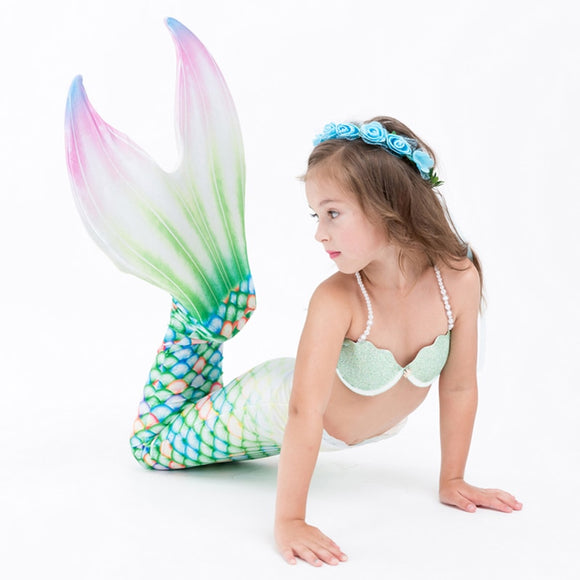 3pcs Girls Mermaid Tail Costume With Monofin