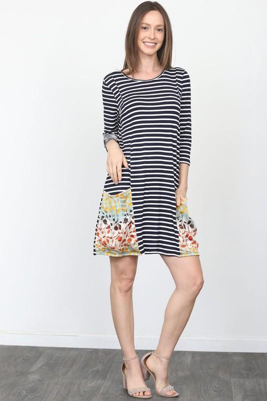 NicholeMadison Amzie Striped Shift Dress