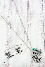NicholeMadison Silver 'Country Girl' Necklace and Rooster Earrings Set