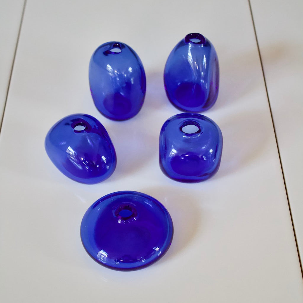 Cobalt Blue Glass Bud Vases set of 5