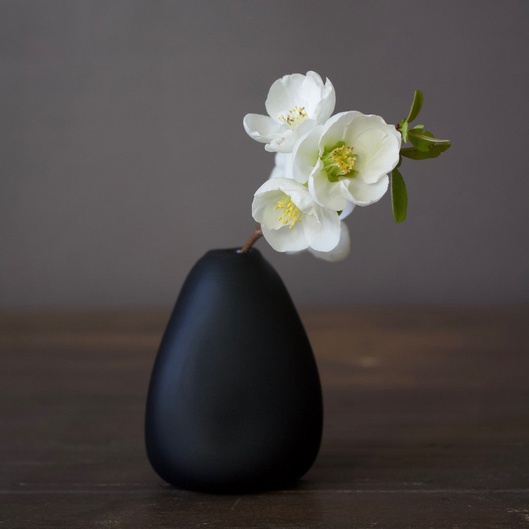 Matte Black Glass Bud Vase Triangle Tall