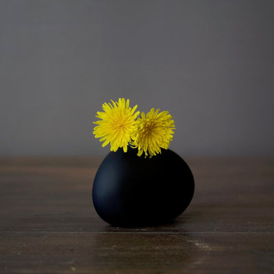 Matte Black Glass Bud Vase Triangle Pebble