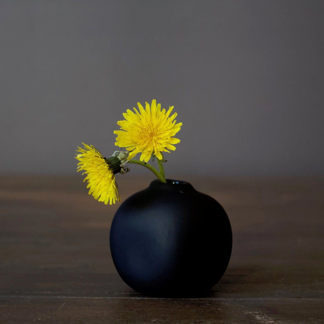 Matte Black Glass Bud Vase Cube