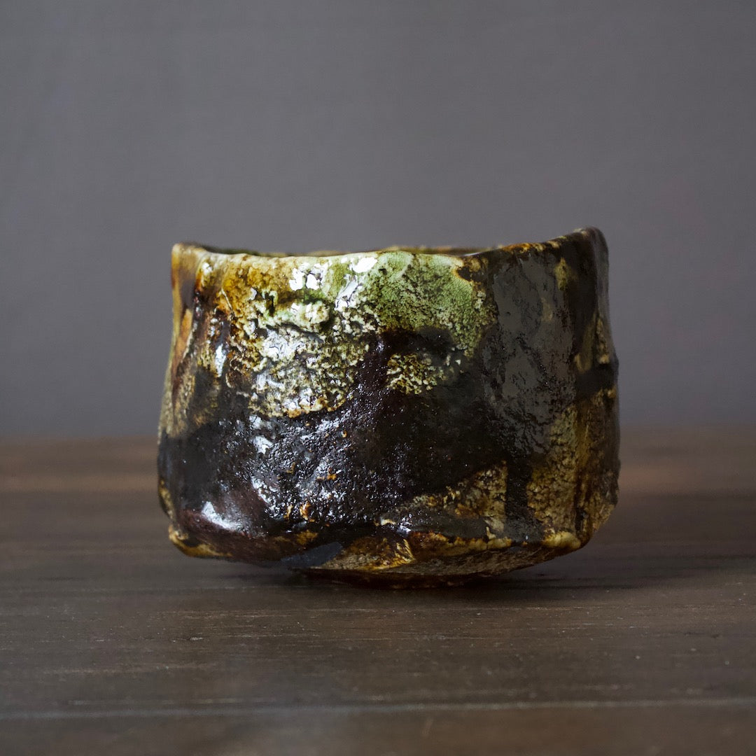 Green / Black RAKU Tea Ceremony Bowl #3C