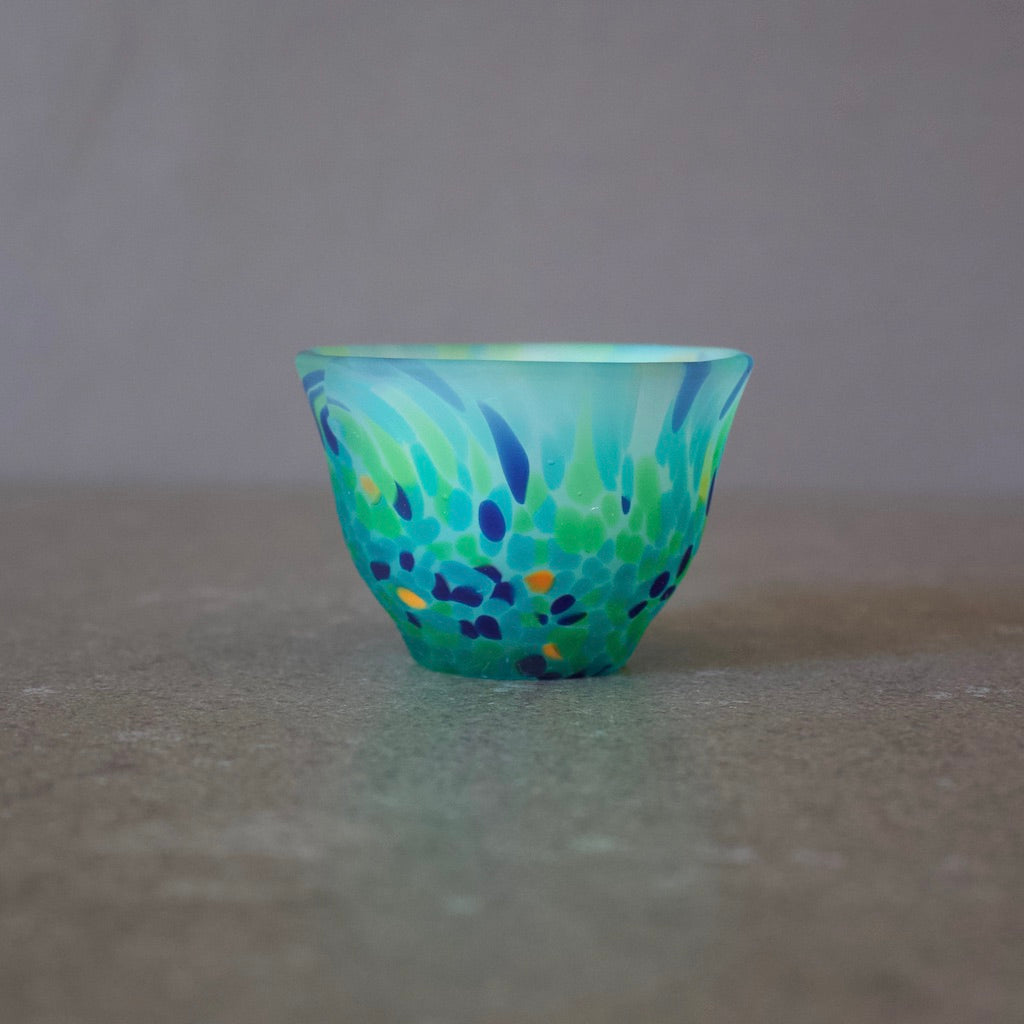 Frosted Glass Sake Cup #7013 Green