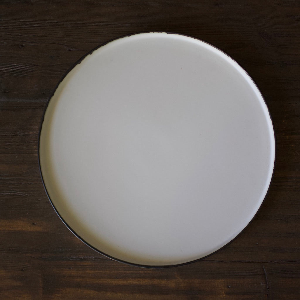 Rimed Edge White Dinner Plate #YM-9