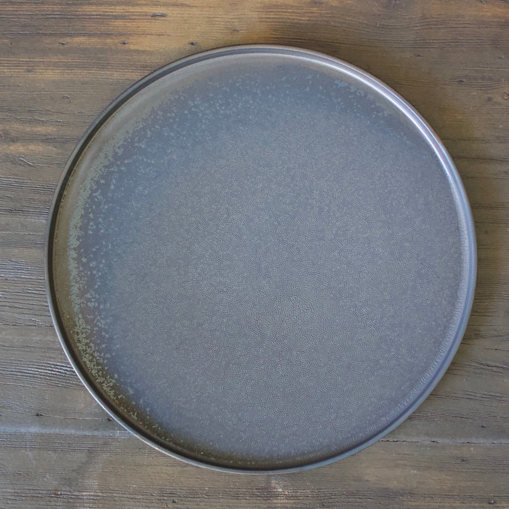 Rimed Edge Manganese Glazed Dinner Plate #YM-7