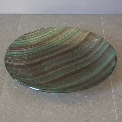 Green / Brown Lace Round Serving Platter #U48