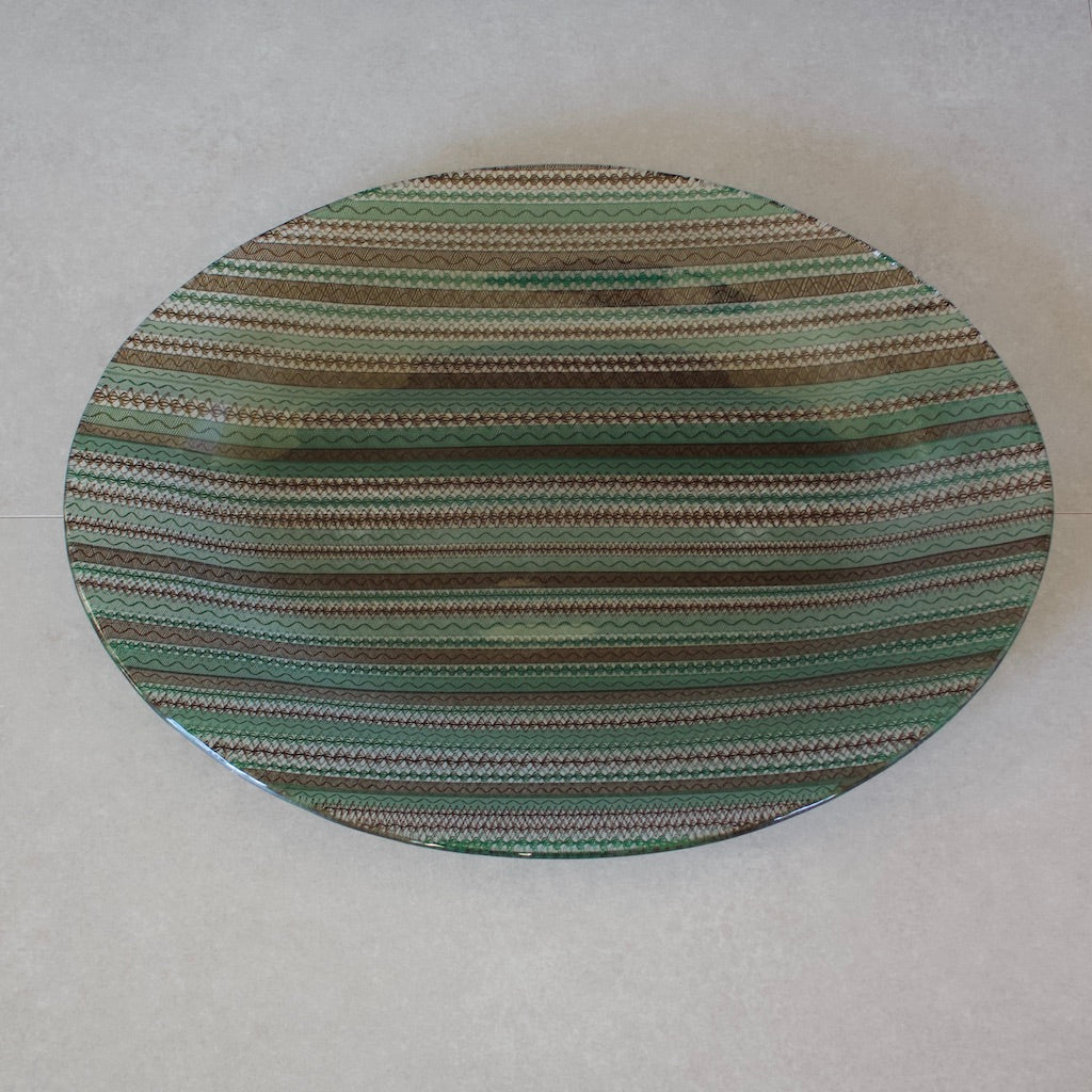 Green / Brown Lace Oval Serving Platter #U47