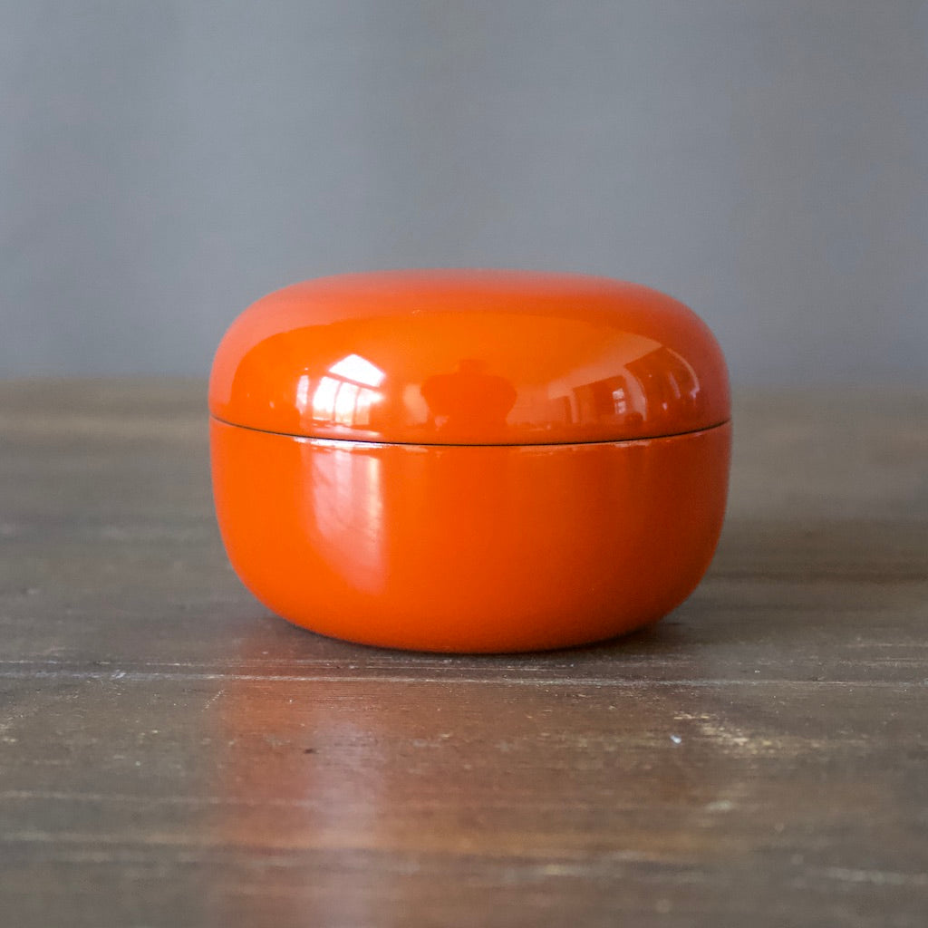 Lacquer Round Bonbonnière Orange