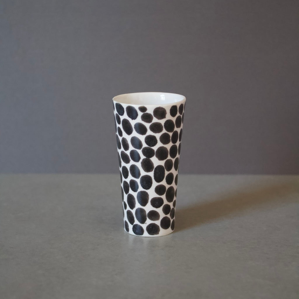 Ink Black Dots Slender Shot Porcelain Cup #LK570A
