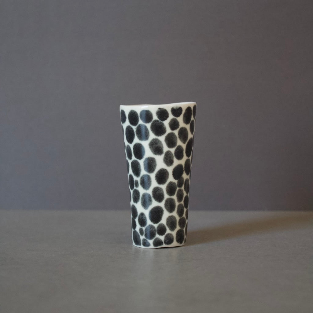 Ink Black Dots Slender Shot Porcelain Cup #LK570B