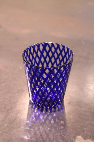 Reticello Cobalt Blue Lace Tumbler #46 by Ushio Konishi