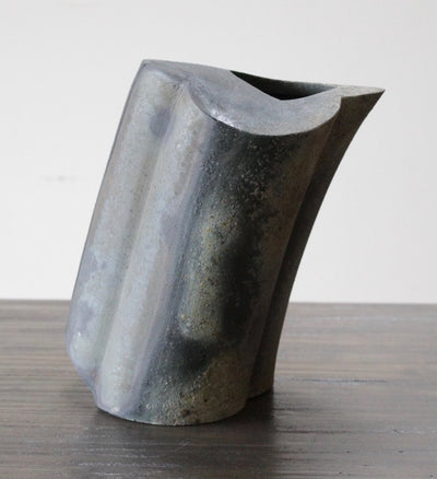 Unglazed Angle Vase by Malcolm Wright