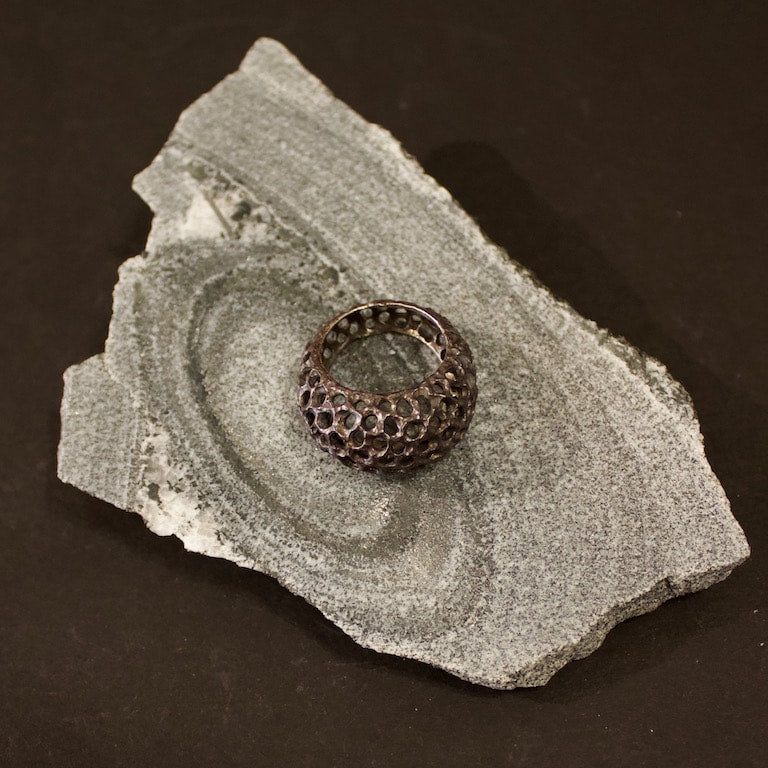 Urchin Ring #8108 Blackend Silver by Lana Kova