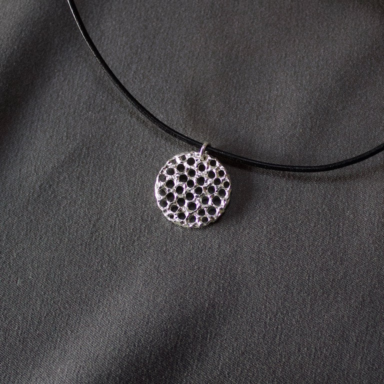 Medium Medallion Sterling Silver Pendant #8112 by Lana Kova