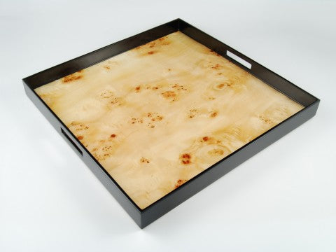 "22""x22"" Square Lacqure Tray, Maple Burl"