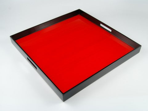 "22""x22"" Square Lacquer Tray, Red Tulip Wood"