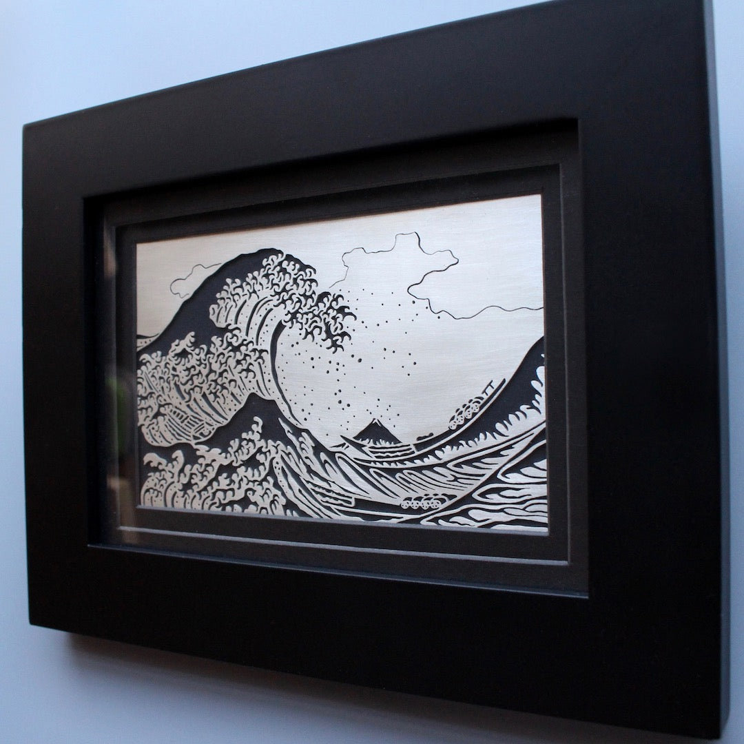 """The Great Wave off Kanagawa"" Silver Panel"