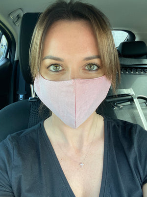 DUSTY PINK LINEN MASK - one for one!