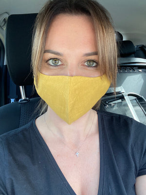 SUNSHINE YELLOW LINEN MASK - one for one!