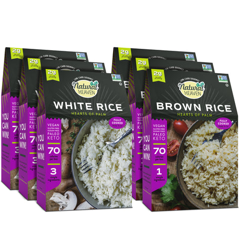 Rice Sampler | 3 White Rice | 3 Brown Rice | 4g of Carbs | 6 Count 9 oz | Keto | Paleo | Vegan | Plant Based | Low Carb |