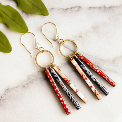 Collage Fringe Earrings- Red/Blue