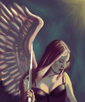 Digital Painting print Battle Wound Angel 8x10 inches