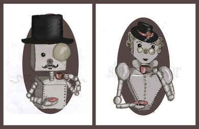 Digital painting Prints Set Gentleman and Lady Bots 8x10 Steampunk