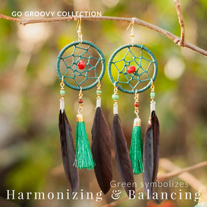 Bohemian Dream Catcher Green Feather Dangle Earrings