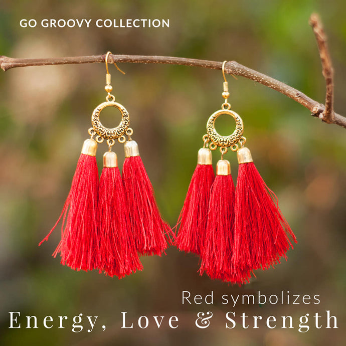 Boho Red Teardrop Triple Tassel Earrings - SOLD OUT - Made to Order -
