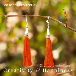 Bohemian Sunset-Orange Silver Tassel Earrings