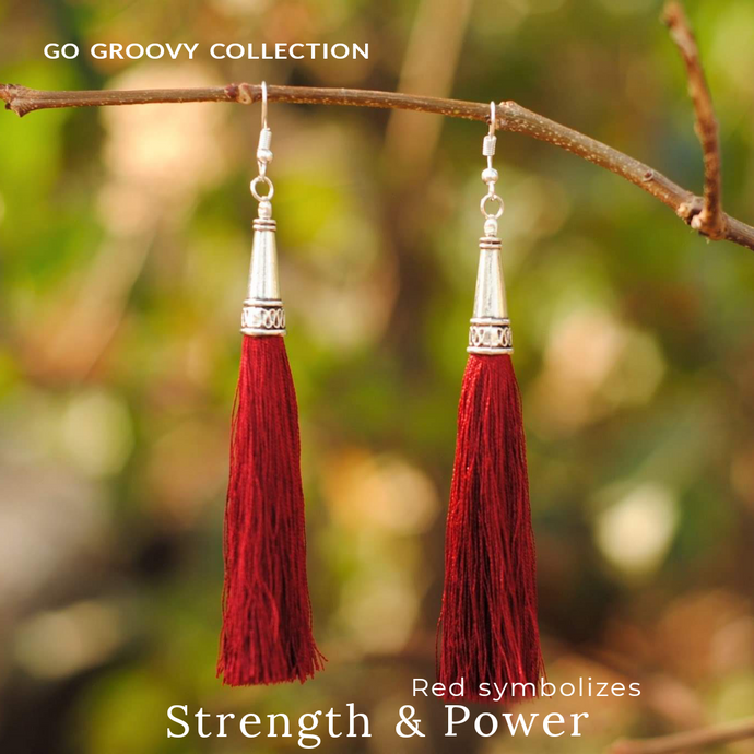 Bohemian Wine-Red Silver Tassel Earrings