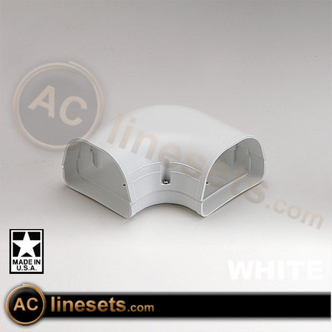 Fortress LK92W White 90° Flat Elbow Lineset / Refrigerant Line Cover - 3.5""
