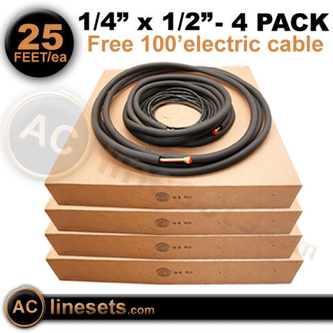"Kamco Mini Split Ductless Line Set / Refrigerant Line - 1/4"" x 1/2"" x 25' - 4 Pack"