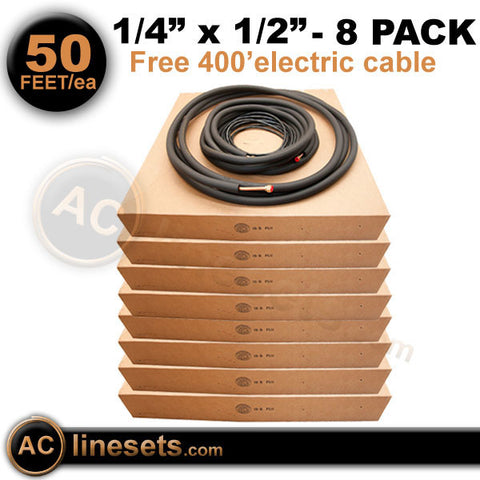 "Kamco Mini Split Ductless Line Set / Refrigerant Line - 1/4"" x 1/2"" x 50' - 8 Pack"