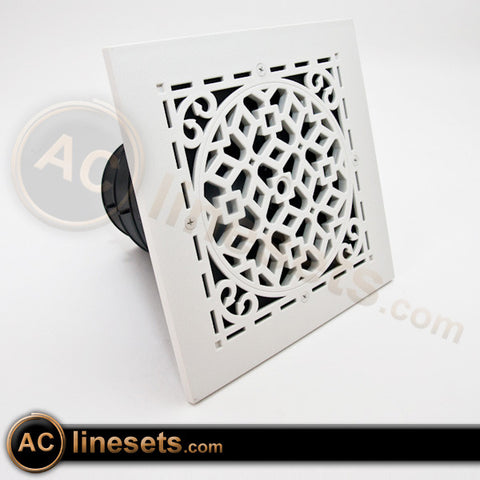 MVAW Ceiling Diffuser w/ Antique White Grille, Damper, Box - 6, 7, 8""