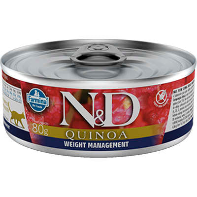 N&D Gato Quinoa Weight Management Cordeiro Alimento Úmido Lata 80g
