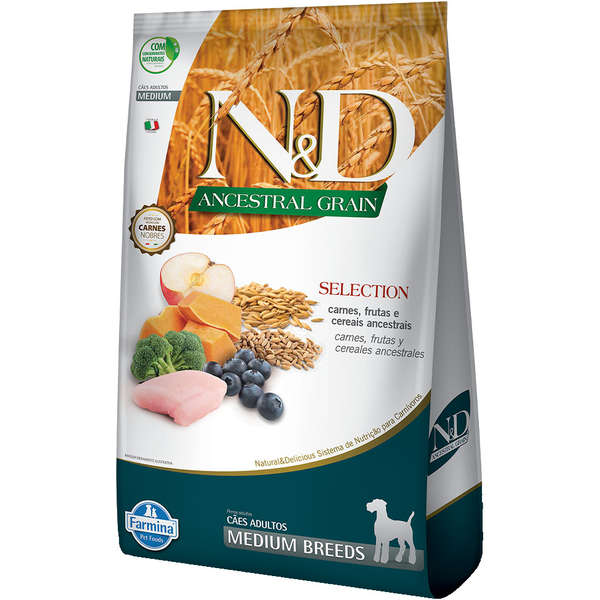 Ração N&D Ancestral Selection Cães Adultos Medium 15kg