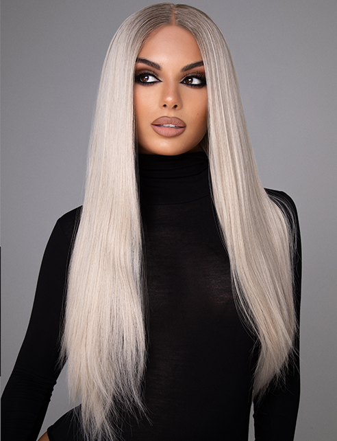 "CAPRICE PLATINUM - 20-22"" ULTIMATE ASH BLONDE LONG STRAIGHT LACE FRONT WIG"