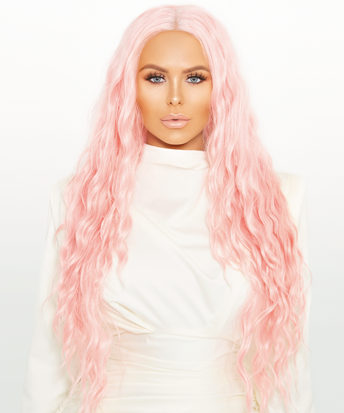 "DANITY - 24"" Pink Long Textured Wavy Lace Front Wig"