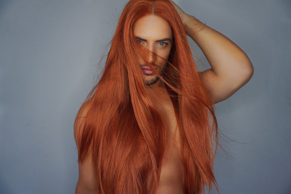 "FEARLESS - 24"" COPPER FLAME LONG STRAIGHT LACE FRONT WIG"