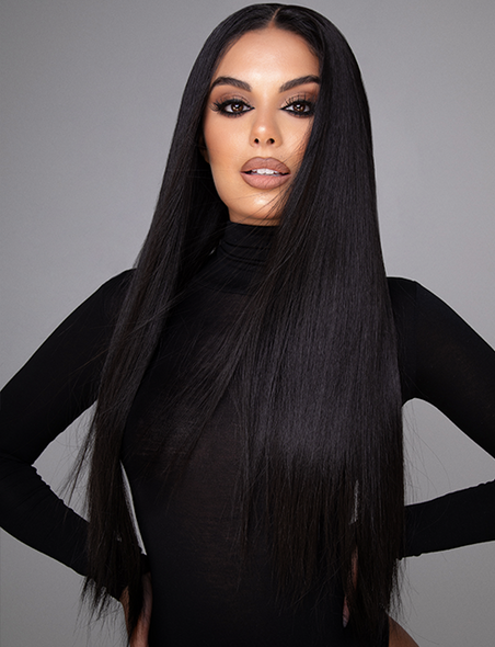 "ITALIYA - 20 - 22"" DARKEST BRUNETTE (1B) STRAIGHT LACE FRONT WIG"