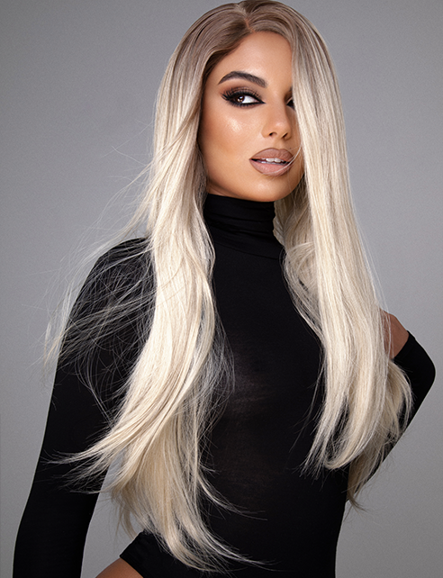 "JENNA - 24"" NATURAL ROOTED BLONDE LONG STRAIGHT LACE FRONT WIG"