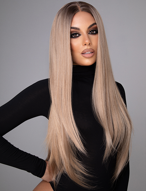 "KYRA - 22"" STRAIGHT ROOTED ASH CARAMEL LACE FRONT WIG"