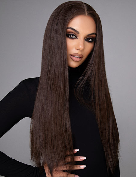 "MISS SHELL - 22"" STRAIGHT NATURAL BRUNETTE LACE FRONT WIG"