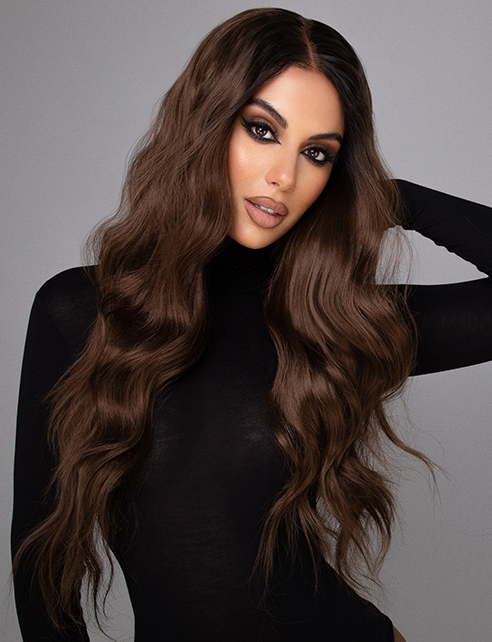 "MISSY - 22"" ROOTED BRUNETTE CURLED LACE FRONT WIG"